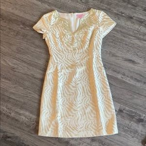 Lilly Pulitzer Gold Short Sleeve Dress